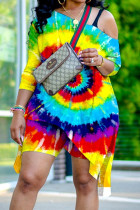 Yellow Sexy Patchwork Tie-dye One Shoulder Plus Size Two Pieces Sets