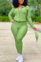 Green Sexy Sportswear Patchwork Zipper Collar Long Sleeve Two Pieces (With Mask)