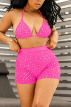 Pink Fashion Sexy Mesh Sequins Swimsuit Set