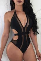 Black Sexy Solid Split Joint Mesh Swimwears