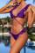 Purple Casual Flounce Design Two-piece Swimwears