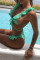 Green Casual Flounce Design Two-piece Swimwears