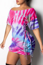 purple Fashion Sexy Patchwork Print bandage One word collar Hip skirt Dresses
