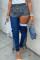 Blue Denim Zipper Fly Sleeveless High Zippered washing Patchwork Metal pencil Pants