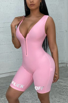 Pink Casual letter Solid zipper Milk. Sleeveless V Neck  Rompers