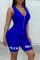 Blue Casual letter Solid zipper Milk. Sleeveless V Neck  Rompers