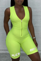 Fluorescent green Casual letter Solid zipper Milk. Sleeveless V Neck  Rompers
