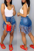 Blue Denim Button Fly Zipper Fly Mid Solid Patchwork Tassel Straight shorts
