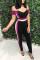 Black Chic Patchwork Twilled Satin One-piece Jumpsuit