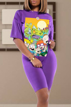 purple Polyester adult Casual Fashion Ma'am Two Piece Suits Print pencil Short Sleeve  Two-Piece Short Set