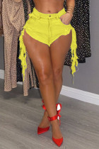 Yellow Fashion Sexy Fitted Denim Shorts