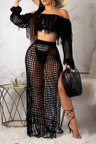 Black Sexy Pierced See-through Off the Shoulder Long Sleeve Two Pieces