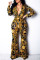 Gold Trendy Printed One-piece Jumpsuit