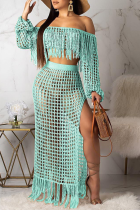 Cyan Sexy Pierced See-through Off the Shoulder Long Sleeve Two Pieces