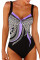 Purple Sexy Printed One-piece Swimwears