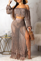 Coffee Sexy Pierced See-through Off the Shoulder Long Sleeve Two Pieces