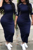 Blue Sexy Round Neck Striped Polyester Sheath Mid Calf Dress
