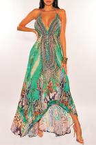 Green Vintage Print Split Joint Spaghetti Strap Sling Dress Dresses