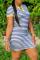 Stripe Casual Striped Split Joint V Neck Pencil Skirt Dresses