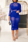 Blue Sexy Solid Split Joint O Neck Wrapped Skirt Dresses