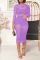 Purple Sexy Solid Split Joint O Neck Wrapped Skirt Dresses