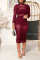Red Sexy Solid Split Joint O Neck Wrapped Skirt Dresses