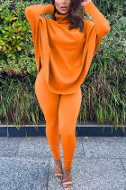 Orange Fashion Casual Adult Solid Split Joint Turtleneck Batwing Sleeve Two Pieces
