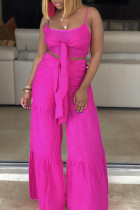 rose red Fashion perspective crop top Solid Straight  Two-piece Pants Set