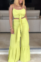 Yellow Fashion perspective crop top Solid Straight  Two-piece Pants Set