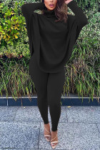 Black Fashion Casual Adult Solid Split Joint Turtleneck Batwing Sleeve Two Pieces