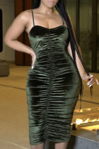Green Sexy Solid Split Joint Spaghetti Strap Pencil Skirt Dresses