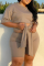 Khaki Casual Solid Bandage Split Joint O Neck Plus Size Two Pieces
