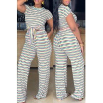 Yellow Polyester Sexy Fashion Slim fit Bandage Striped crop top Skinny Straight  Two-piece Pants Set