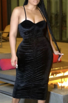 Black Sexy Solid Split Joint Spaghetti Strap Pencil Skirt Dresses