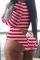 Red Sexy Print Split Joint U Neck Skinny Jumpsuits