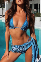 Blue Sexy Patchwork Print Bandage Split Joint Swimwears