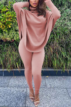Pink Fashion Casual Adult Solid Split Joint Turtleneck Batwing Sleeve Two Pieces