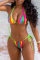 Colour Sexy Print Split Joint Swimwears