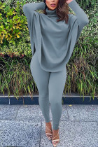 Grey Fashion Casual Adult Solid Split Joint Turtleneck Batwing Sleeve Two Pieces