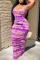 Purple Sexy Patchwork Tie-dye U Neck Pencil Skirt Dresses