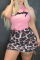 Pink Sexy Leopard Letter O Neck Pencil Skirt Plus Size Two Pieces