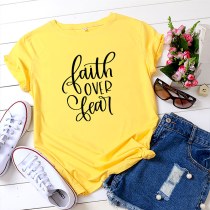 Yellow Casual Print Split Joint O Neck T-Shirts