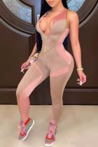 Khaki Sexy Color Block Split Joint Zipper Collar Skinny Jumpsuits