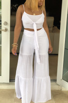 White Fashion perspective crop top Solid Straight  Two-piece Pants Set