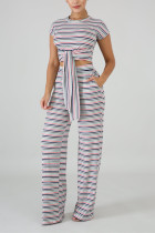 White Polyester Sexy Fashion Slim fit Bandage Striped crop top Skinny Straight  Two-piece Pants Set