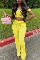 Yellow Sexy Fashion Trousers Sports Two-piece Set