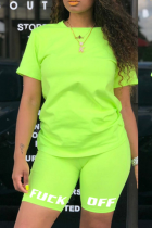 Fluorescent Green Casual Print Split Joint O Neck Short Sleeve Two Pieces