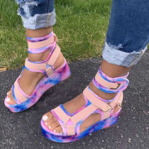 Pink Casual Street Split Joint Tie-dye Fish Mouth Out Door Shoes