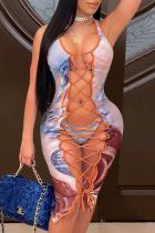 Blue Sexy Patchwork Tie-dye Swimwears