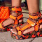 Orange Casual Street Split Joint Tie-dye Fish Mouth Out Door Shoes